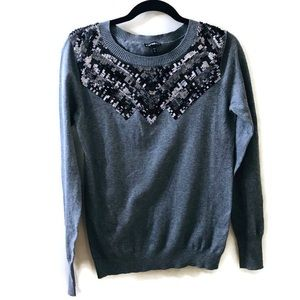 Express Gray Sequin Sweater Sz M